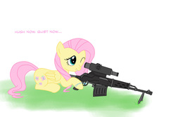 Size: 1202x802 | Tagged: safe, artist:nimbostratus, fluttershy, pegasus, pony, cutie mark, dialogue, dragunov, female, gun, hooves, hush now quiet now, mare, one eye closed, optical sight, prone, rifle, simple background, smiling, sniper, sniper rifle, snipershy, sniperskya vintovka dragunova, solo, svd, teeth, weapon, white background, wings