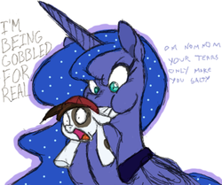Size: 614x514 | Tagged: safe, artist:moophins, pipsqueak, princess luna, alicorn, earth pony, pony, colored, colt, crying, female, gobbled, lunapred, male, mare, scared, soft vore, vore, wide eyes