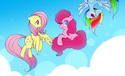Size: 1000x602 | Tagged: safe, artist:k4ll0, fluttershy, pinkie pie, rainbow dash, flutterdashpie, flying