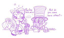 Size: 921x548 | Tagged: safe, artist:furnut5158, rarity, spike, dragon, pony, unicorn, ..., bar, clothes, dialogue, disguise, drink, female, hat, male, mare, milk, monocle, moustache, necktie, shipping, sparity, straight, top hat
