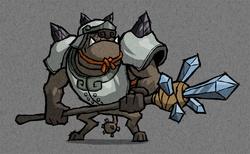 Size: 1000x616 | Tagged: safe, artist:dalapony, diamond dog, armor, diamond dog guard, helmet, legend of zelda wind waker, nintendo, spear, style emulation, the legend of zelda