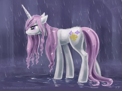 Size: 1200x900 | Tagged: artist:kp-shadowsquirrel, blushing, featured image, fleur-de-lis, floppy ears, frown, pony, rain, safe, shiny, solo, unicorn, wet, wet mane