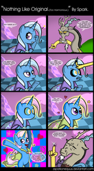 Size: 2860x5222 | Tagged: artist:zsparkonequus, bipedal, comic, dialogue, discord, discorded, draconequus, female, heart, mare, mind control, open mouth, peace symbol, pony, safe, sweat, sweatdrops, swirly eyes, trixie, unicorn