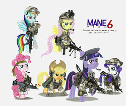 Size: 1280x1081   Tagged: safe, artist:buckweiser, applejack, fluttershy, pinkie pie, rainbow dash, rarity, twilight sparkle, aa12, at4, beret, eotech, fn scar, gun, heckler and koch, holographic sight, m14, m14 dmr, m60, machine gun, military, mp5sd, rifle, rocket launcher, shotgun, submachinegun, suppressor, weapon