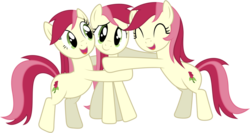 Size: 1224x653 | Tagged: artist:delectablecoffee, bipedal, bipedal leaning, eyes closed, hug, leaning, looking at you, multeity, open mouth, recolor, roseluck, safe, simple background, smiling, transparent background, vector