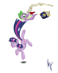 Size: 1300x1650 | Tagged: safe, artist:sameasusual, spike, twilight sparkle, book, checklist, dancing, excited, quill