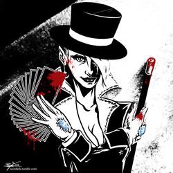 Size: 900x900 | Tagged: safe, artist:scorpiordinance, trixie, blood, card, hat, humanized, noir dash, top hat