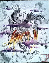 Size: 900x1154 | Tagged: safe, artist:peachpalette, discord, philomena, chinese, fight, flying, painting, style emulation, traditional art, watercolor painting