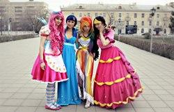 Size: 1280x825 | Tagged: safe, artist:anima89, artist:serebii42, artist:yukkistyu, pinkie pie, rainbow dash, rarity, twilight sparkle, human, clothes, cosplay, dress, gala dress, irl, irl human, photo, russian