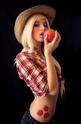 Size: 673x1024 | Tagged: safe, artist:maria sergashova, applejack, human, apple, artifact, cosplay, irl, irl human, obligatory apple, photo, russian, solo