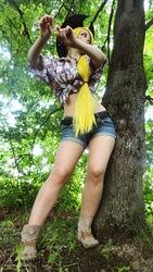 Size: 507x900 | Tagged: safe, artist:freia-raven, applejack, human, cosplay, irl, irl human, midriff, photo, russian, solo