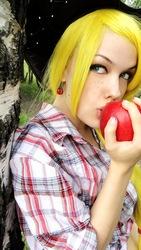 Size: 454x807 | Tagged: safe, artist:freia-raven, applejack, human, cosplay, irl, irl human, obligatory apple, photo, russian, solo