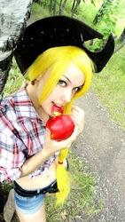 Size: 454x807 | Tagged: safe, artist:freia-raven, applejack, human, bellyring, cosplay, irl, irl human, midriff, obligatory apple, photo, russian, solo