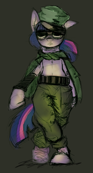 Size: 663x1239 | Tagged: artist:lanta, badass, bipedal, clothes, military, pony, safe, standing, twilight sparkle