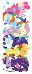 Size: 1100x2501 | Tagged: safe, artist:raygirl, applejack, fluttershy, pinkie pie, rainbow dash, rarity, twilight sparkle, earth pony, pegasus, pony, unicorn, apple, book, candy, eyes closed, female, flower, flower in hair, food, horn, lineless, mane six, mare, quill, simple background, spread wings, stars, totem, transparent background, wings
