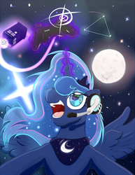 Size: 561x726 | Tagged: artist:frist44, doctor who, gamer luna, moon, princess luna, safe, solo, tardis