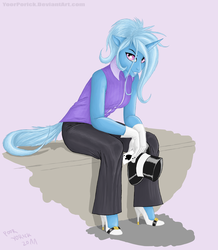Size: 1154x1325 | Tagged: safe, artist:pooryorick, trixie, anthro, clothes, gloves, hat, high heels, pants, playing card, shoes, solo, top hat, vest