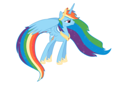 Size: 3333x2500 | Tagged: safe, artist:nianara, rainbow dash, alicorn, pony, alicornified, female, high res, hoof shoes, laurel wreath, mare, peytral, race swap, rainbowcorn, simple background, solo, transparent background