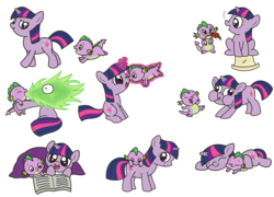 Size: 2321x1669 | Tagged: safe, artist:kukimao, spike, twilight sparkle, dragon, pony, unicorn, :t, adorkable, baby, baby dragon, baby spike, biting, blanket, book, boop, cute, cutie mark, derp, dork, eyes closed, feather, female, filly, fire, foal, funny face, green fire, laughing, levitation, magic, male, mama twilight, mouth hold, nibbling, nom, noseboop, open mouth, prone, puffy cheeks, quill, reading, scroll, simple background, sitting, skipping, sleeping, smiling, spikabetes, spikelove, telekinesis, terminally cute, transparent background, twiabetes, unicorn twilight, walking, wide eyes