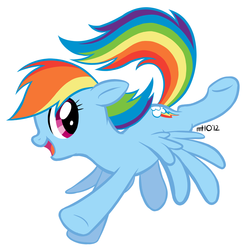 Size: 1000x1000 | Tagged: safe, artist:empty-10, rainbow dash, pegasus, pony, cute, female, flying, hooves, mare, open mouth, signature, simple background, solo, spread wings, vector, white background, wings