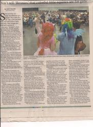 Size: 1700x2338 | Tagged: article, brony, bronycon, human, irl, irl human, news, newspaper, photo, pinkie pie, rainbow dash, safe, texas