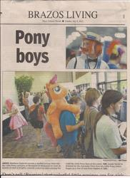 Size: 1700x2338 | Tagged: article, brony, bronycon, clothes, cosplay, costume, flam, irl, news, newspaper, photo, safe, scootaloo, texas