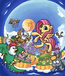 Size: 3555x4200 | Tagged: safe, artist:docwario, fluttershy, gilda, princess celestia, trixie, zecora, cockatrice, griffon, rabbit, robot, zebra, box art, building, castle, game cover, hack, mario, moon, nintendo, parody, style emulation, super fluttershy land 2, super mario bros., super mario land, super mario land 2: the six golden coins, video game, village