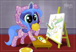 Size: 2648x1836 | Tagged: safe, artist:killryde, princess celestia, princess luna, pony, clothes, cute, filly, footed sleeper, lunabetes, nom, painting, pajamas, stylistic suck, waffle, woona