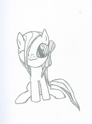 Size: 1061x1432 | Tagged: safe, artist:tyrellus, oc, oc only, monochrome, ponified, sketch, solo