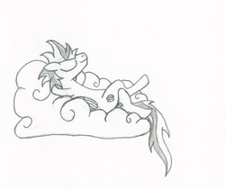 Size: 1440x1209 | Tagged: safe, artist:tyrellus, oc, oc only, cloud, sketch, sleeping