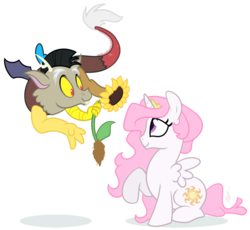 Size: 1000x918 | Tagged: safe, artist:egophiliac, discord, princess celestia, dislestia, female, male, pink-mane celestia, shipping, straight, young, younger