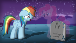 Size: 1920x1080   Tagged: safe, artist:ryuuichi-shasame, pinkie pie, rainbow dash, ghost, crying, dead, feels, grave, gravestone, implied death, needs more jpeg, sad