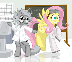Size: 800x694   Tagged: safe, artist:dstears, fluttershy, princess luna, pony, moonstuck, bipedal, clothes, crossover, cute, dr adorable, glasses, goggles, lab coat, laboratory, science, science woona, tumblr crossover, woona
