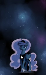 Size: 2200x3520 | Tagged: safe, artist:valcron, princess luna, alicorn, pony, female, high res, s1 luna, solo, stars