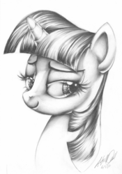 Size: 2155x3086 | Tagged: artist:carlotta-guidicelli, bedroom eyes, bust, eyelashes, grayscale, high res, monochrome, pencil drawing, portrait, safe, smiling, smug, smuglight sparkle, solo, traditional art, twilight sparkle