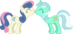 Size: 12359x5754 | Tagged: absurd res, artist:mysteriouskaos, bon bon, boop, female, lesbian, lyrabon, lyra heartstrings, noseboop, safe, scrunchy face, shipping, simple background, sweetie drops, transparent background, vector