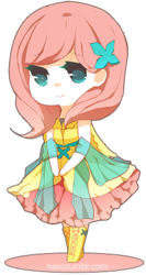 Size: 228x430 | Tagged: artist:niaro, chibi, clothes, dress, fluttershy, humanized, safe, solo