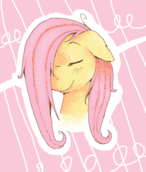 Size: 456x536 | Tagged: safe, artist:rosewhistle, fluttershy, bust, eyes closed, portrait, smiling, solo