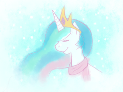 Size: 800x600 | Tagged: safe, artist:rosewhistle, princess celestia, clothes, scarf, solo