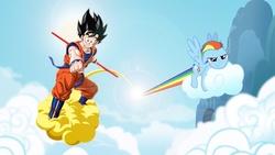 Size: 1920x1080   Tagged: safe, rainbow dash, saiyan, cloud, cloudy, crossover, flying, goku, wallpaper