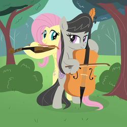 Size: 1000x1000 | Tagged: safe, artist:a-leksey, fluttershy, octavia melody, cello, female, fluttertavia, lesbian, musical instrument, shipping, violin