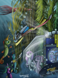 Size: 1400x1867 | Tagged: alicorn, artist:bonaxor, discord, draconequus, female, giant squid, kelp, male, mare, nightmare moon, pink-mane celestia, pony, princess cadance, princess celestia, princess luna, safe, scuba gear, sea pony, seaweed, spear, squid, submarine, underwater, weapon