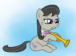 Size: 800x586 | Tagged: safe, artist:fadri, bowtie, musical instrument, trumpet