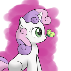 Size: 2560x2560 | Tagged: safe, artist:cradet, sweetie belle, butterfly, pony, robot, robot pony, unicorn, abstract background, blank flank, female, filly, foal, high res, hooves, horn, insect on nose, open mouth, sitting, solo, sweetie bot