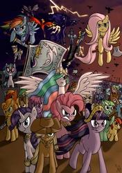 Size: 1759x2496 | Tagged: safe, artist:fimoman, apple bloom, applejack, berry punch, berryshine, big macintosh, braeburn, carrot top, derpy hooves, dj pon-3, doctor whooves, fluttershy, golden harvest, linky, lyra heartstrings, minuette, philomena, pinkie pie, princess celestia, princess luna, rainbow dash, rarity, shoeshine, spitfire, time turner, twilight sparkle, vinyl scratch, alicorn, earth pony, pegasus, phoenix, pony, unicorn, army, axe, bipedal, elements of harmony, epic, everypony, female, filly, flag, hilarious in hindsight, male, mare, stallion, sword, wrong neighborhood