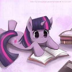 Size: 700x700   Tagged: safe, artist:sunshineikimaru, twilight sparkle, pony, unicorn, book, female, happy, mare, prone, reading, smiling, solo, unicorn twilight