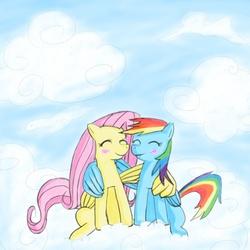 Size: 800x800 | Tagged: safe, fluttershy, rainbow dash, blushing, cloud, cloudy, female, flutterdash, hug, lesbian, shipping, winghug