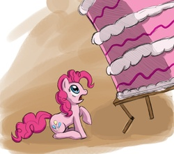 Size: 1220x1080   Tagged: safe, artist:otakuap, pinkie pie, cake, food, scared, solo, this will end in tears