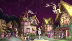 Size: 3840x2160 | Tagged: safe, artist:stinkehund, amethyst star, apple bloom, applejack, berry punch, berryshine, cheerilee, derpy hooves, fluttershy, gummy, pinkie pie, rainbow dash, rarity, roseluck, scootaloo, sparkler, spike, sweetie belle, twilight sparkle, zecora, dragon, earth pony, pegasus, pony, unicorn, zebra, awwmethyst star, balancing, ball, basket, berrybetes, bipedal, book, box, butt, carrying, cheeribetes, cloud, cute, cuteluck, cutie mark crusaders, dusk, eye contact, eyes closed, female, festival, filly, flying, fountain, grin, gummybetes, hairband, high res, juggling, lidded eyes, looking at each other, looking back, looking up, male, mane seven, mane six, mare, night, picnic basket, plot, pony pile, ponyville, prone, raised hoof, scenery, scroll, shyabetes, sitting, sky, sleeping, smiling, spread wings, stars, statue, sunset, tower of pony, twilight (astronomy), underhoof, unicorn twilight, wagon, walking, wall of tags, wallpaper, watching, wings, zecorable