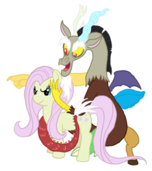 Size: 1049x1181 | Tagged: artist:meteorimpact, discord, discorded, discoshy, female, flutterbitch, fluttershy, male, safe, shipping, straight
